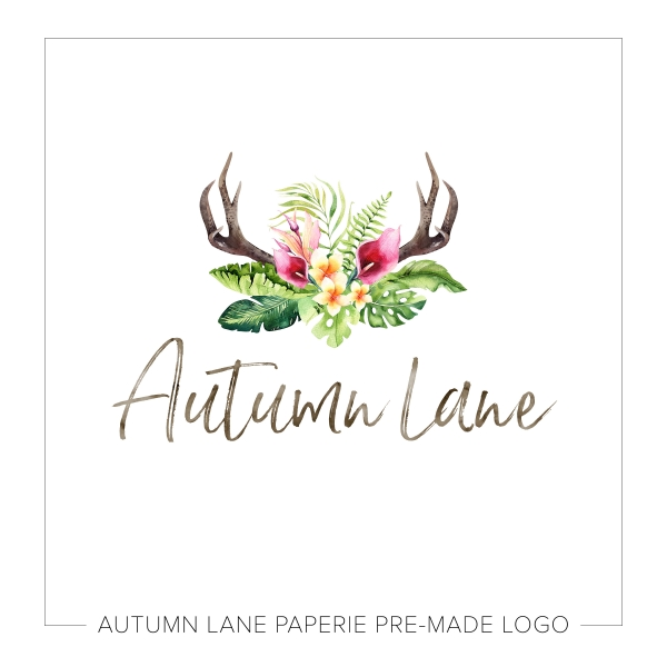Sharp Bright Antler & Florals Logo L26