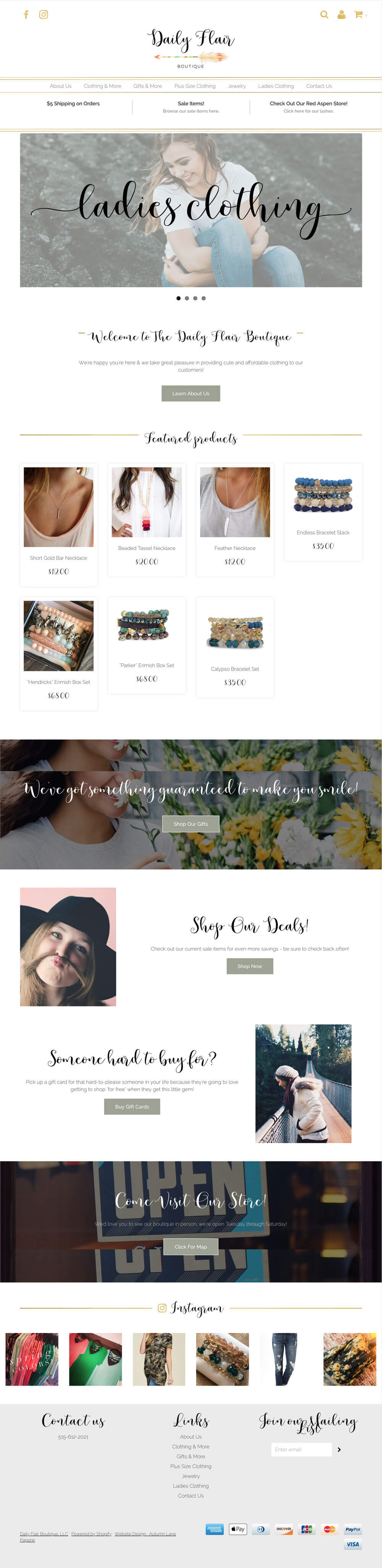 Daily Flair Boutique Website