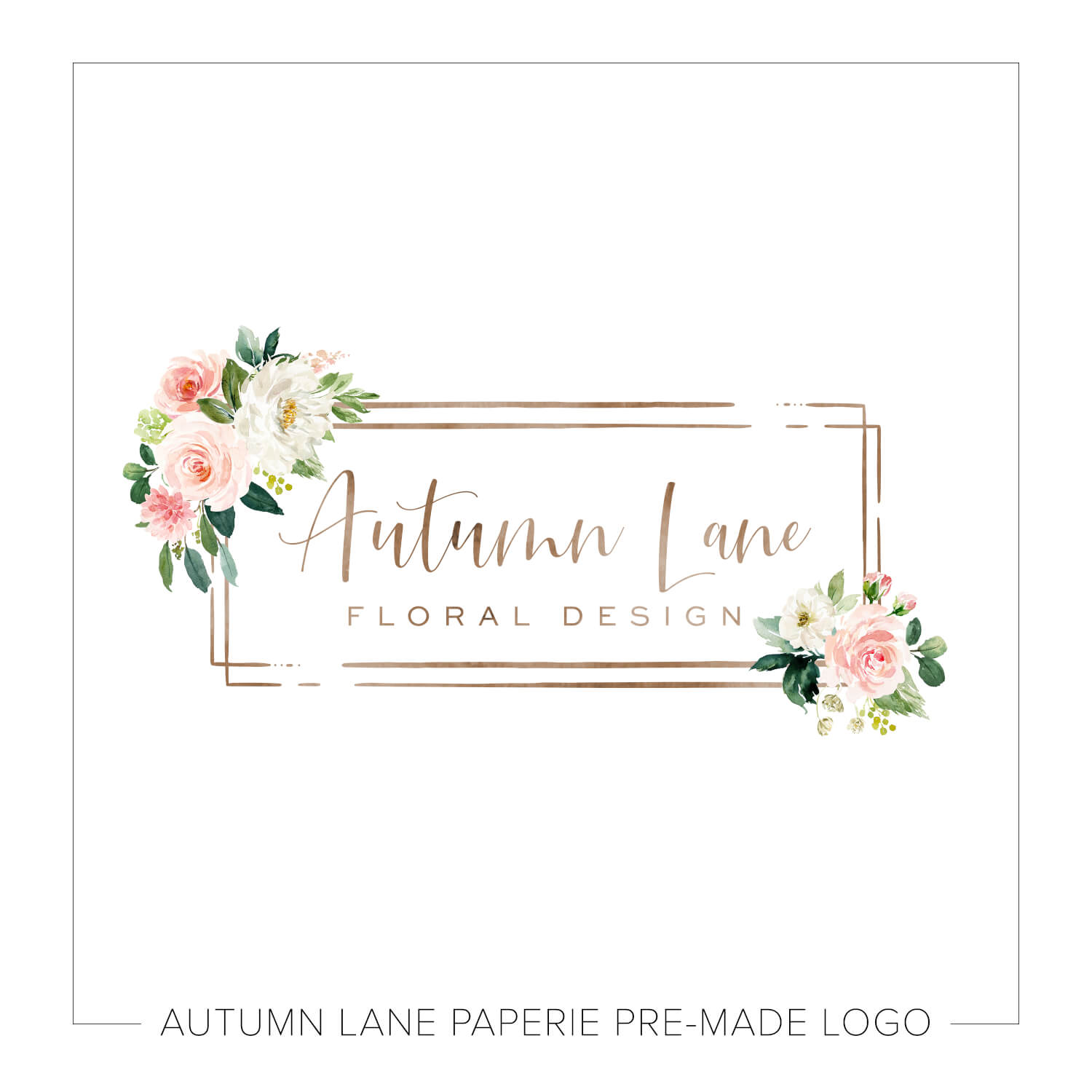 Rustic Pink And White Flower Frame Logo M37 Autumn Lane Paperie