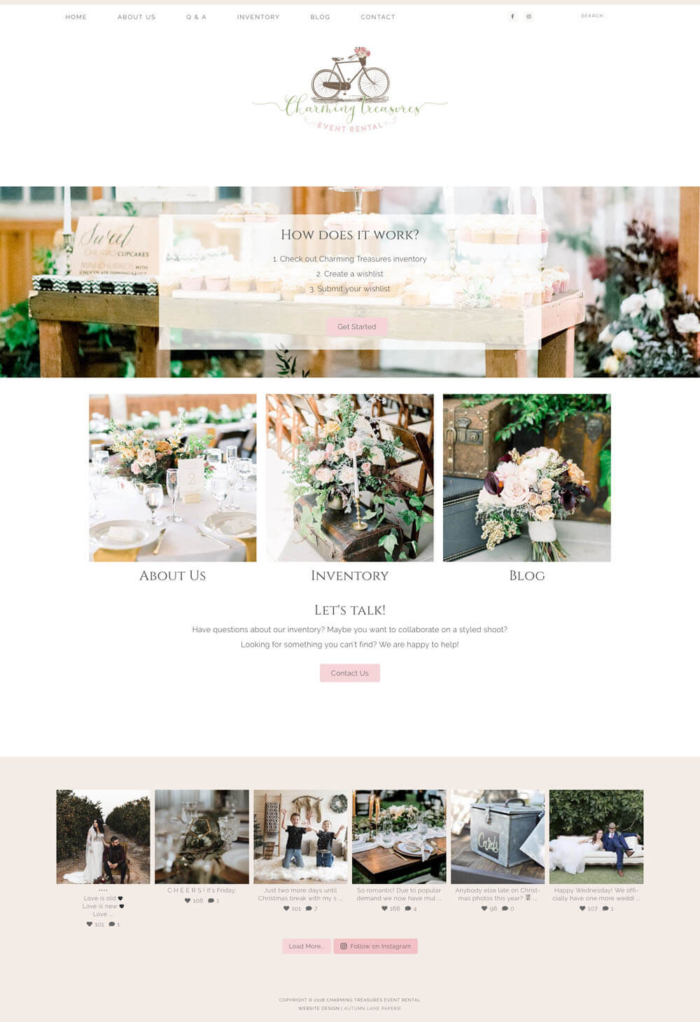 Charming Treasures Event Rentals Website good website design