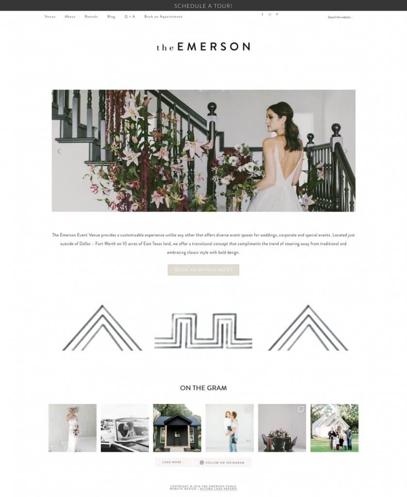 Emerson Venue Website good website design
