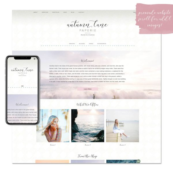 beach please premade website