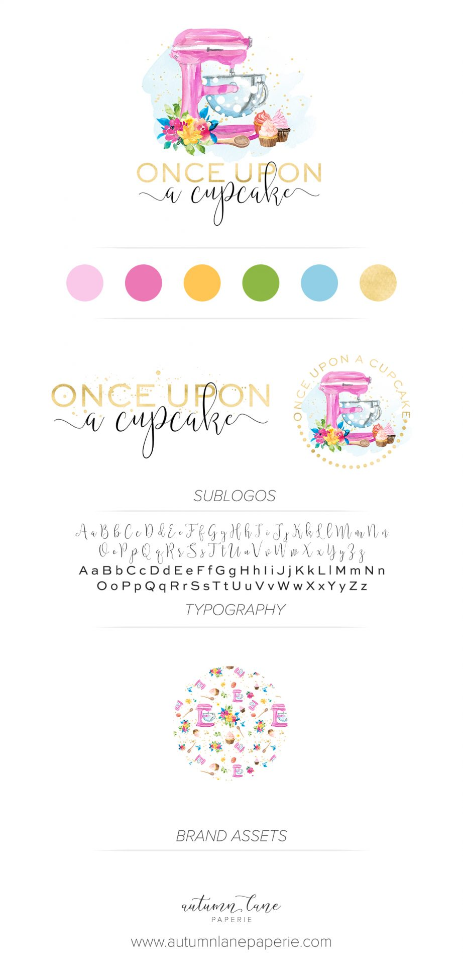 Once Upon a Cupcake brand board