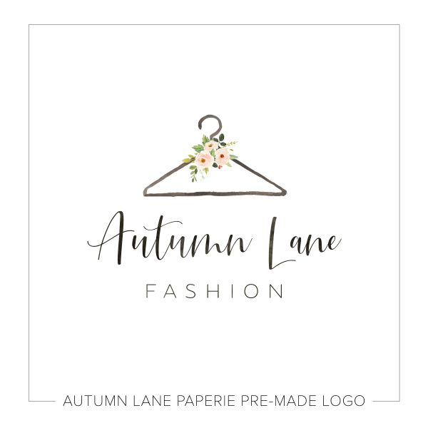 Fashion Boutique Logo Clothes Hanger and Flower Bouquet N55