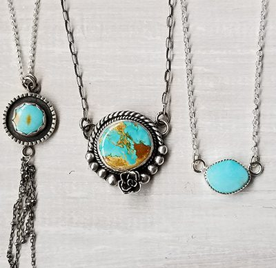 pendants silver and turquoise