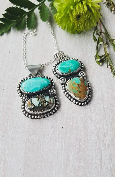 turquoise silver double pendants