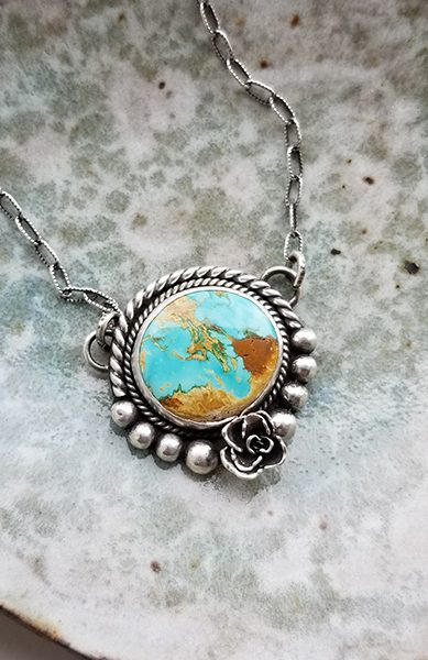 royston turquoise and silver pendant