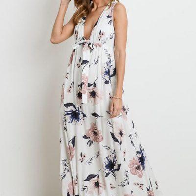 flowered maxi barefoot dress