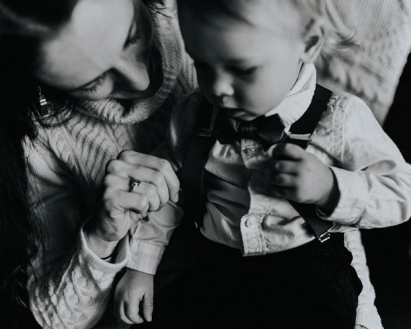 family photo black and white mom and toddler son