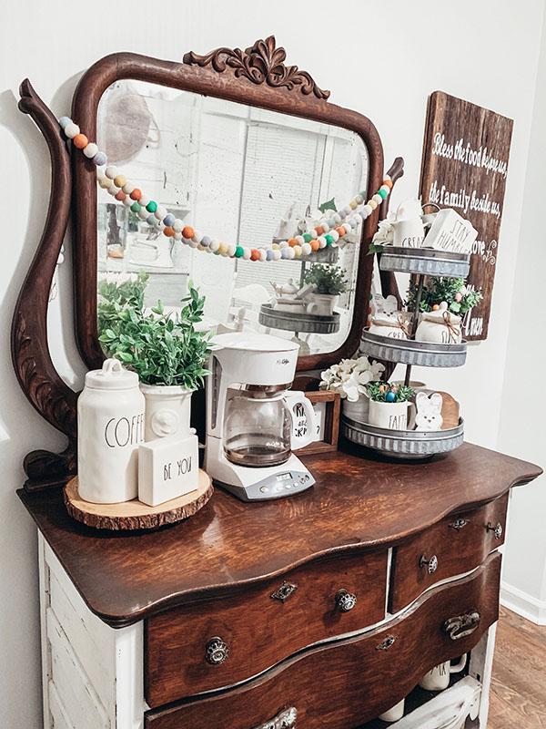 5 Acre Pine coffee bar from repurposed dresser Montgomery Alabama