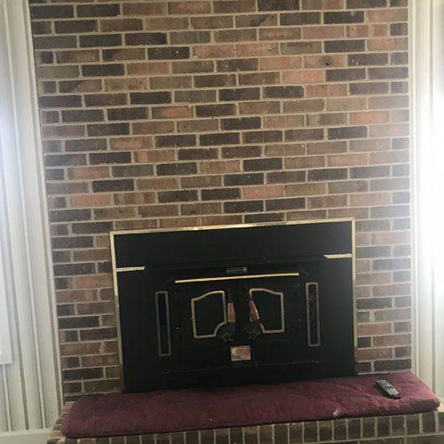 basic 1980 brick fireplace