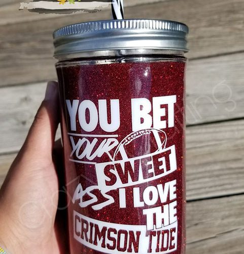 Crimson Tide glitter mug