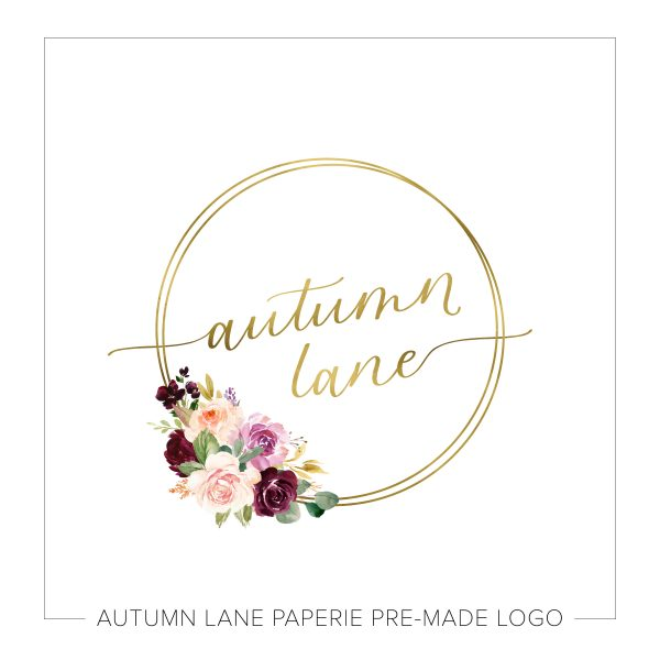 Colorful Bouquet and Gold Circle Calligraphy Script Logo O35
