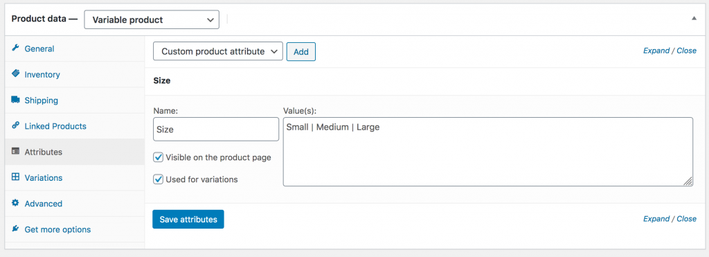 WooCommerce Variable Product Attributes for Shirt Sizes