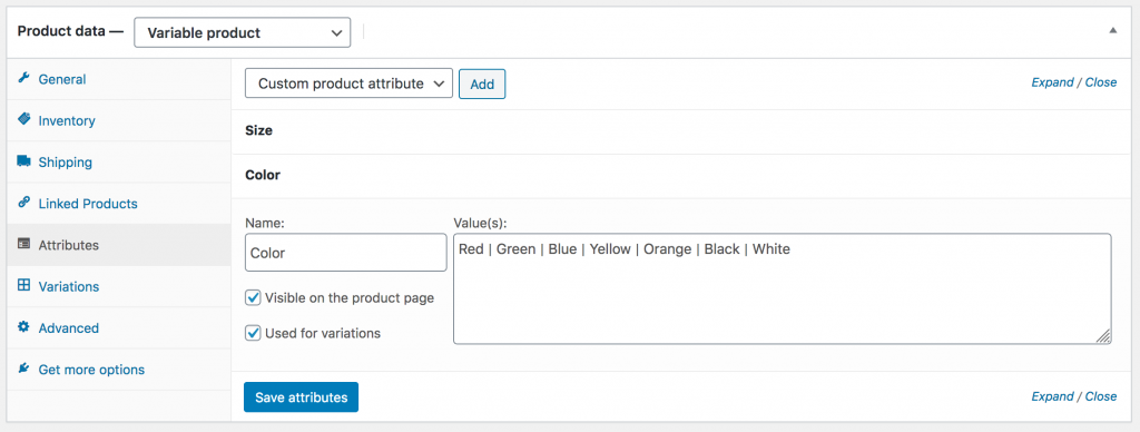 WooCommerce Variable Product Attributes for Shirt Colors