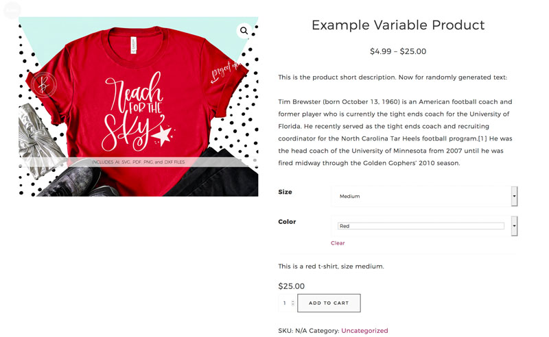 WooCommerce Example Variable Product Variant Regular Price
