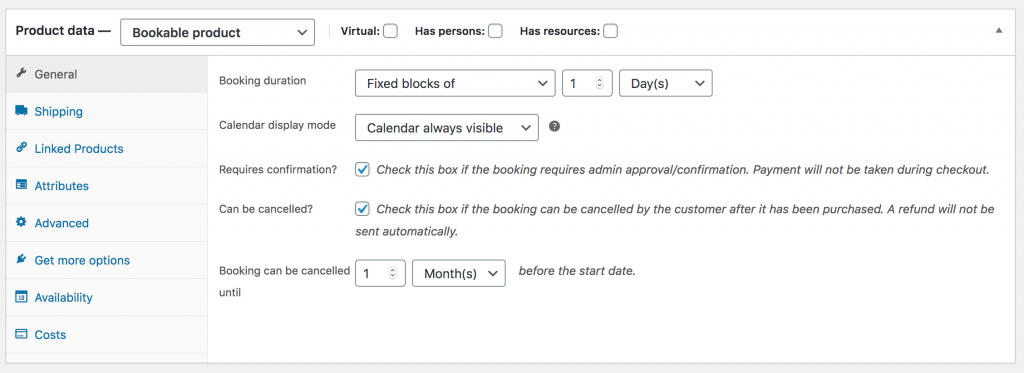 WooCommerce Bookable Products Settings