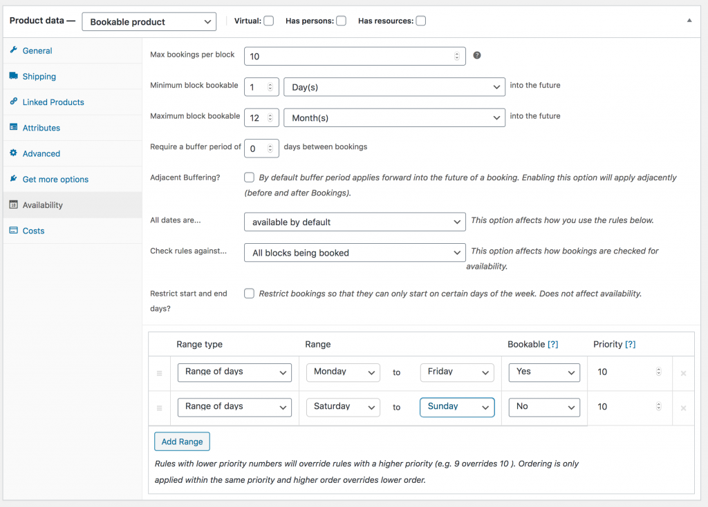 WooCommerce Bookable Product Availability Settings