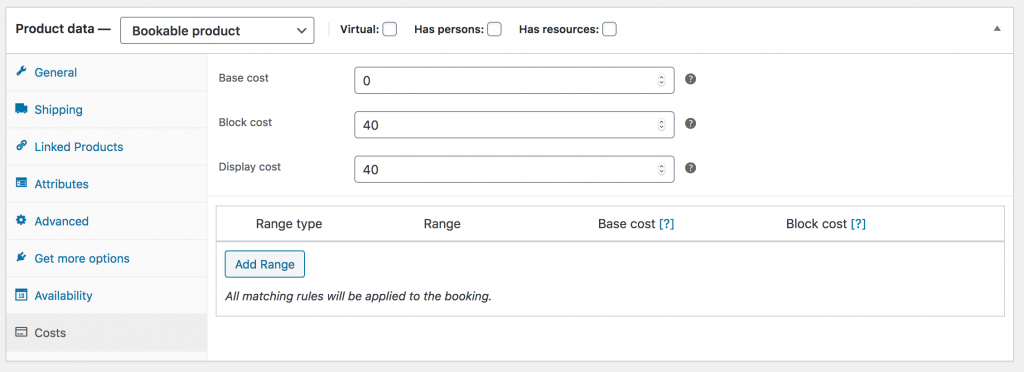 WooCommerce Bookable Product Costs