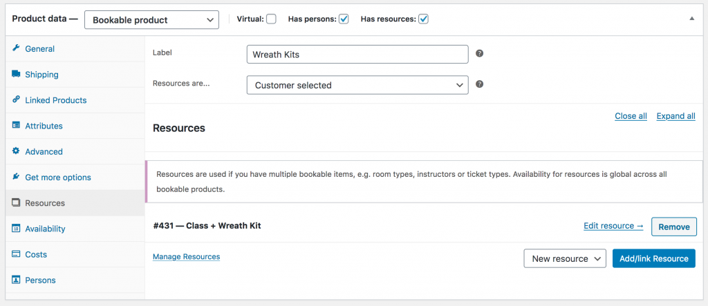 WooCommerce Bookable Product Resources Setting