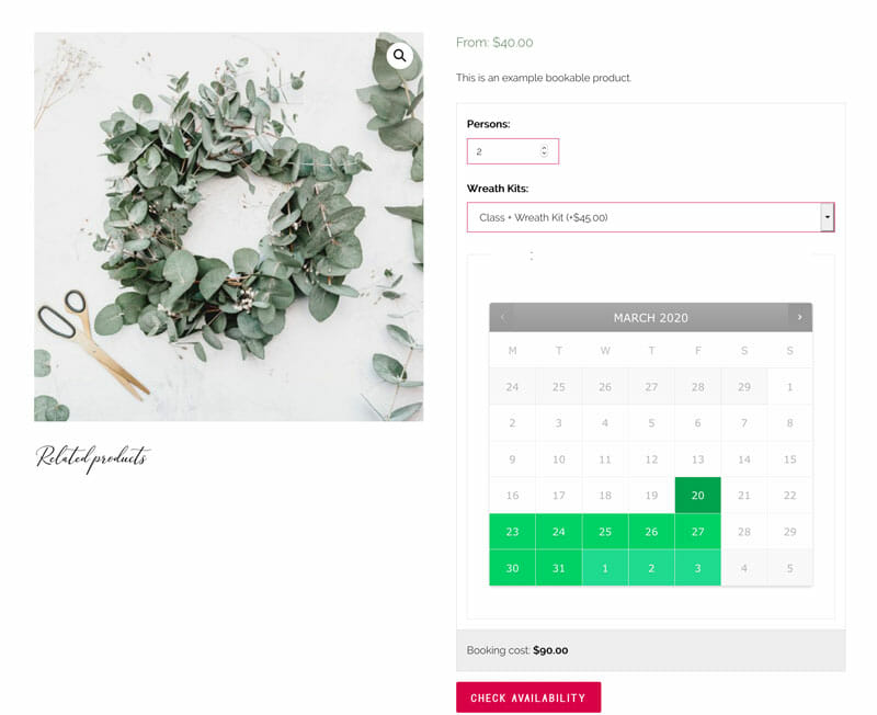 WooCommerce Example Bookable Product