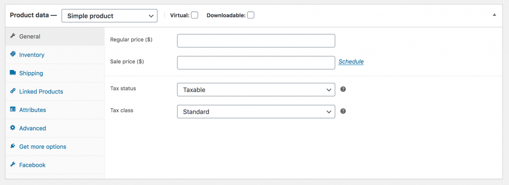 WooCommerce Product Data General Simple