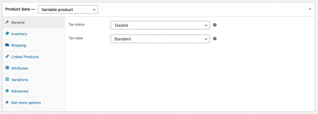 WooCommerce Product Data General Variable