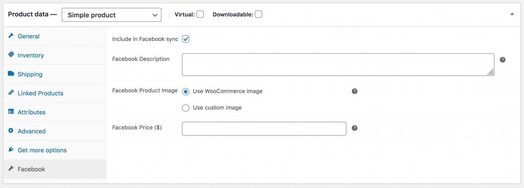 WooCommerce Product Data Facebook