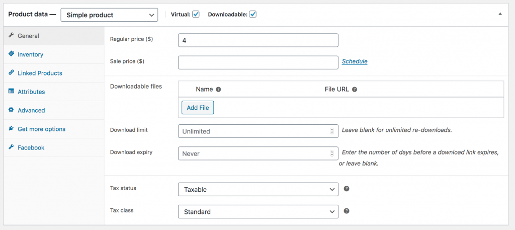 WooCommerce Product Data Virtual and Downloadable Product