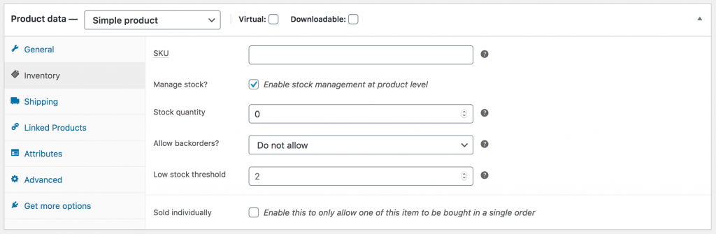 WooCommerce Product Data Inventory Normal