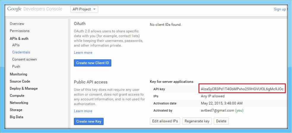 API Key generated - GCM