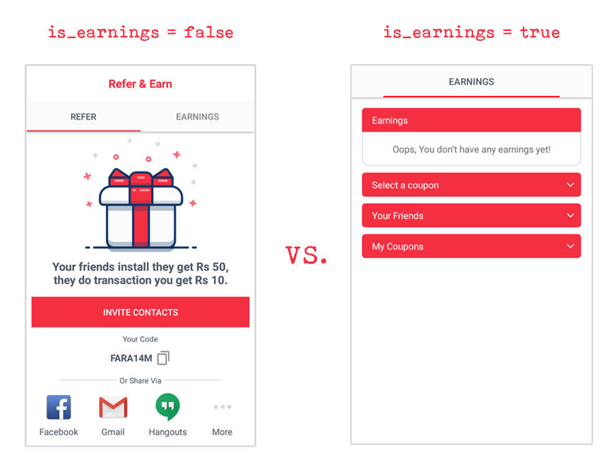 Referral Screen || Earnings Screen