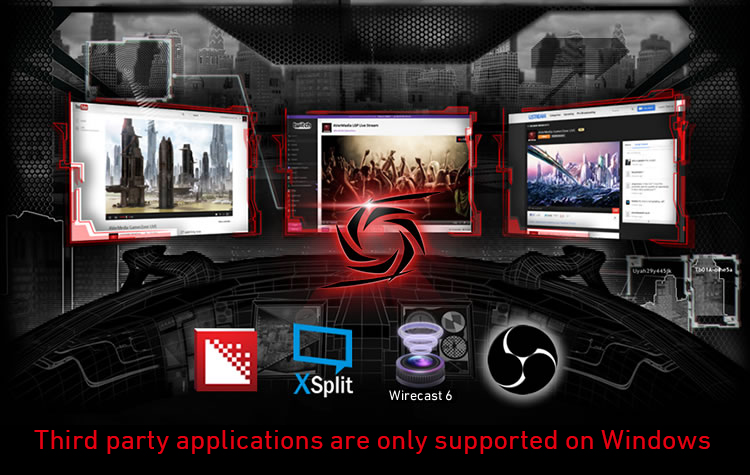 Your Choice of Application and Platform. AVerMedia LGP with OBS, Xsplit, RECentral on YouTube & Twitch.