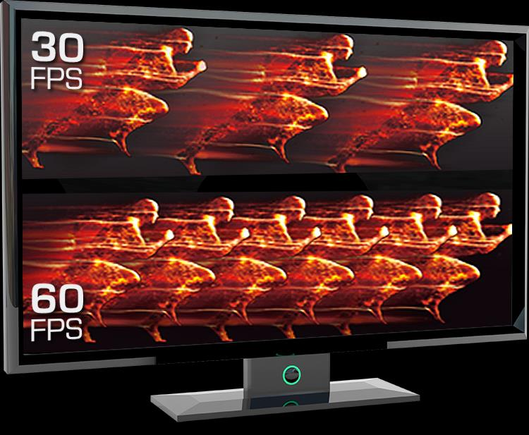 Silky Smooth Action in 60 FPS. Smooth 60 fps video displayed on monitor.
