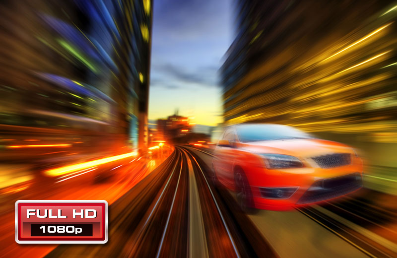 1080p60 Full HD. A car moves at fast speed.