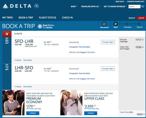 Delta Travel Insurance - $943 SFO - LHR | AardvarkCompare.com