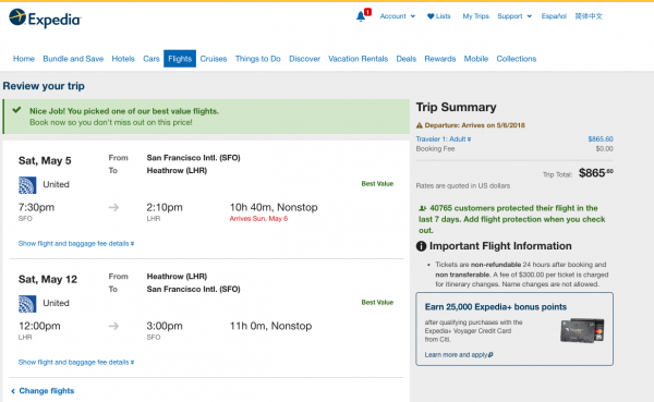 Expedia Travel Insurance - SFO - LHR $865 | AardvarkCompare.com