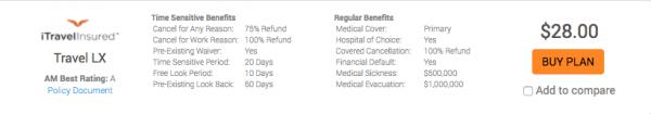 Expedia Travel Insurance - SFO - NYC - iTI LX - $28   AardvarkCompare.com