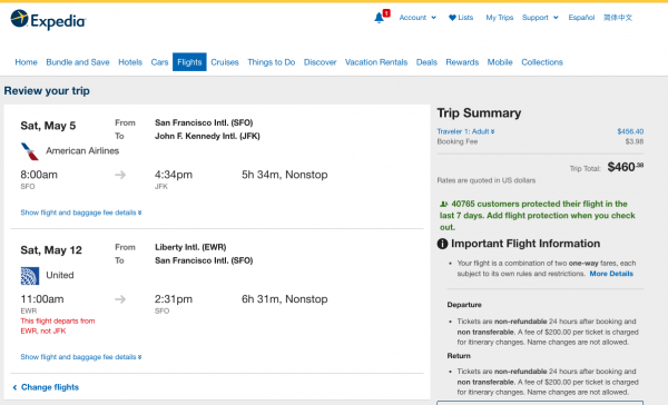 Expedia Travel Insurance - SFO - NYC - $460 | AardvarkCompare.com