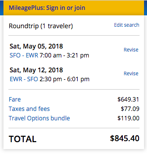 United Airlines Travel Insurance - $845 SFO - NYC | AardvarkCompare.com