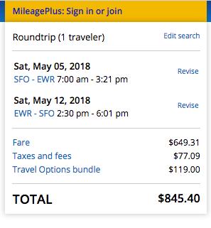 United Airlines Travel Insurance - $845 SFO - NYC   AardvarkCompare.com