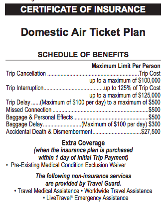 United Airlines Travel Insurance - Domestic Air Ticket Plan   AardvarkCompare.com