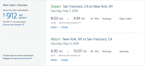 American Airlines Travel Insurance - $912 SFO-NYC Return | AardvarkCompare.com