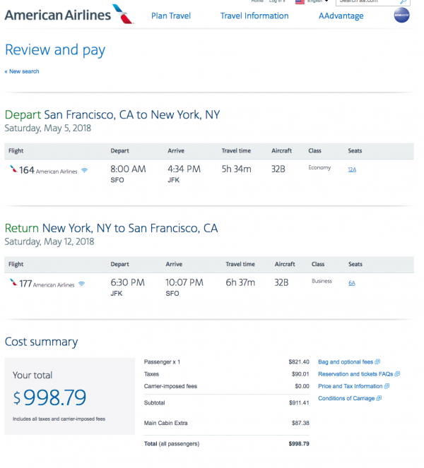 American Airlines Travel Insurance - $999 SFO-NYC Return | AardvarkCompare.com