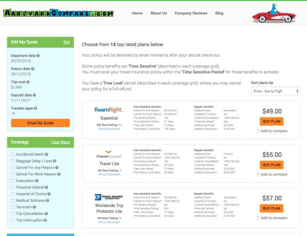 Alaska Airlines Travel Insurance - AardvarkCompare Options | AardvarkCompare.com