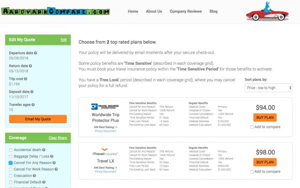 JetBlue Travel Insurance - Cancel for Any Reason   AardvarkCompare.com
