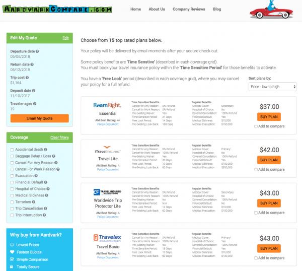 JetBlue Travel Insurance - AardvarkCompare Options   AardvarkCompare.com