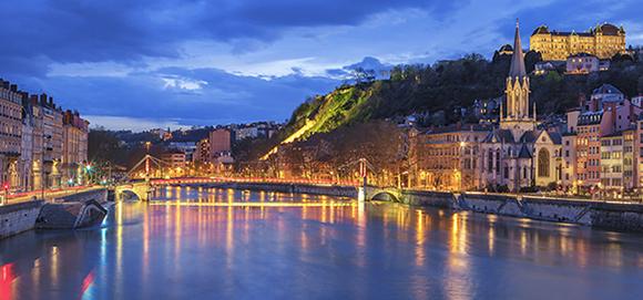 Lyon France Dusk