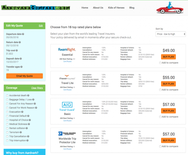 JAL Travel Insurance - Aardvark Options | AardvarkCompare.com