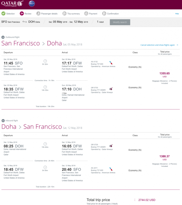 Qatar Airways Travel Insurance $2,744 Economy | AardvarkCompare.com